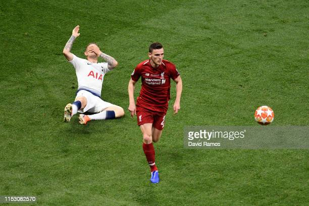 Andy Robertson of Liverpool clashes with Kieran Trippier of Tottenham Hotspur during the UEFA Champions League Final between Tottenham Hotspur and...