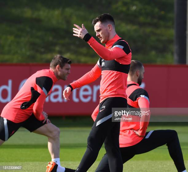 Andy Robertson of Liverpool during a training session at AXA Training Centre on April 13, 2021 in Kirkby, England.
