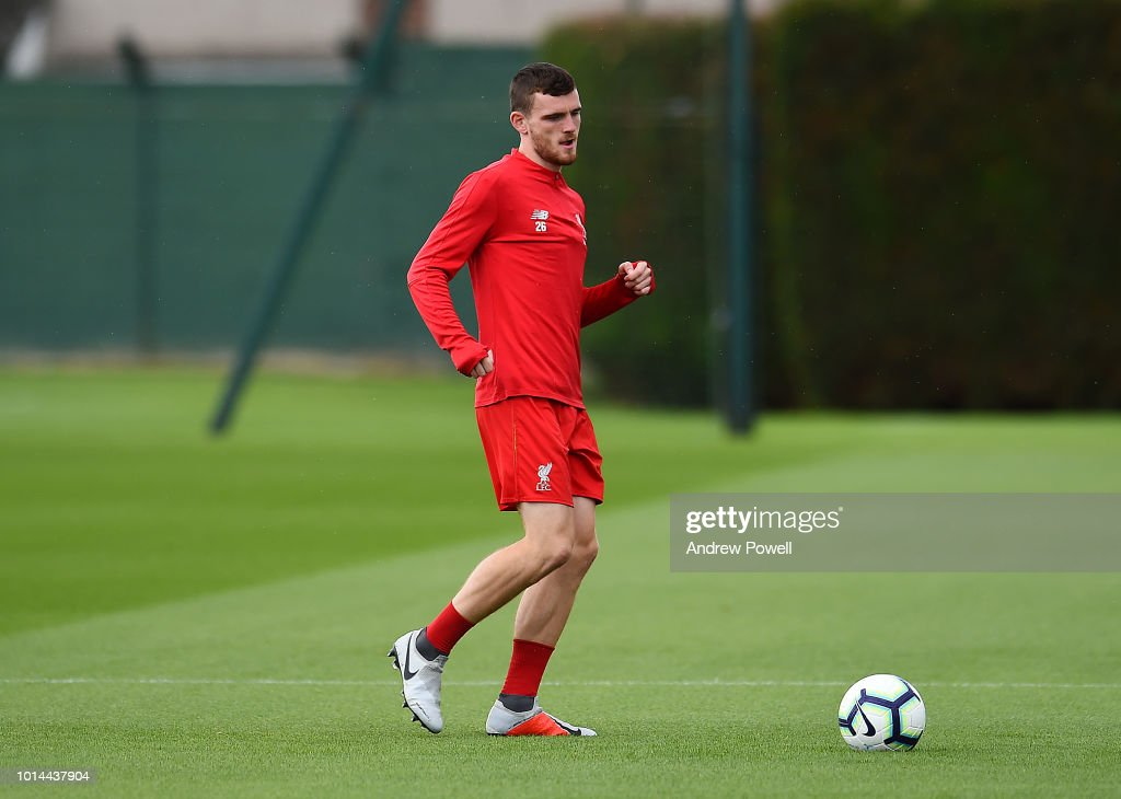 Andy Robertson of Liverpool during a training session at Melwood Training Ground on August 10, 2018 in Liverpool, England.