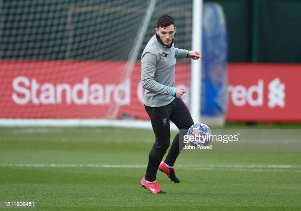 Andy Robertson of Liverpool during a training session at Melwood on March 10 2020 in Liverpool United Kingdom Liverpool FC will face Atletico Madrid...