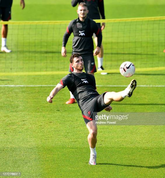 Andy Robertson of Liverpool during a training session at Melwood Training Ground on September 16 2020 in Liverpool England