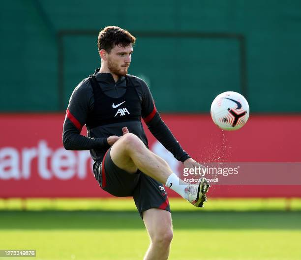 Andy Robertson of Liverpool during a training session at Melwood Training Ground on September 18 2020 in Liverpool England