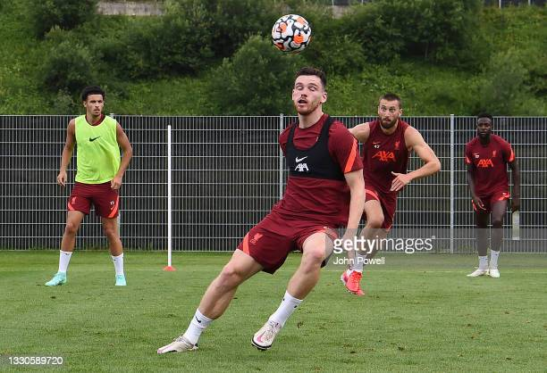 Andy Robertson of Liverpool during a training session on July 25, 2021 in UNSPECIFIED, Austria.