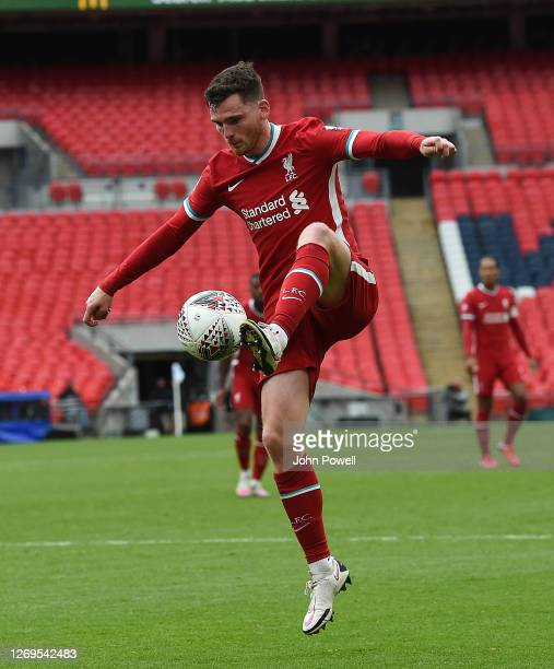Andy Robertson of Liverpool during the FA Community Shield final at Wembley Stadium on August 29 2020 in London England