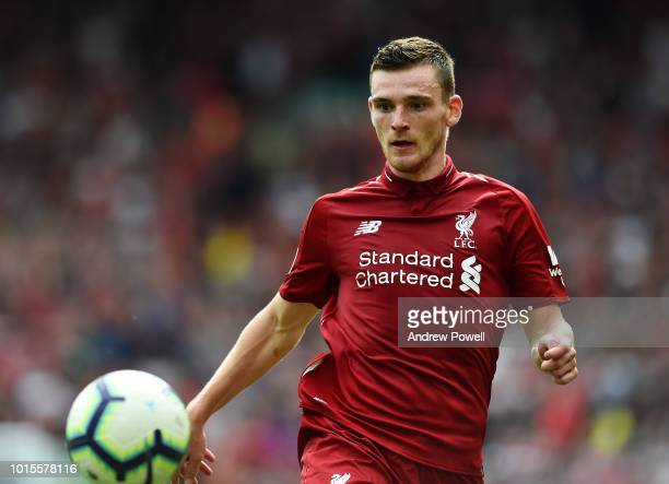 Andy Robertson of Liverpool during the Premier League match between Liverpool FC and West Ham United at Anfield on August 12 2018 in Liverpool United...