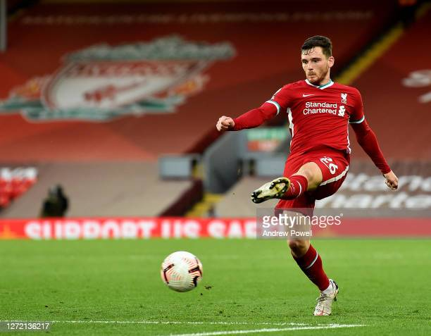 Andy Robertson of Liverpool during the Premier League match between Liverpool and Leeds United at Anfield on September 12 2020 in Liverpool England