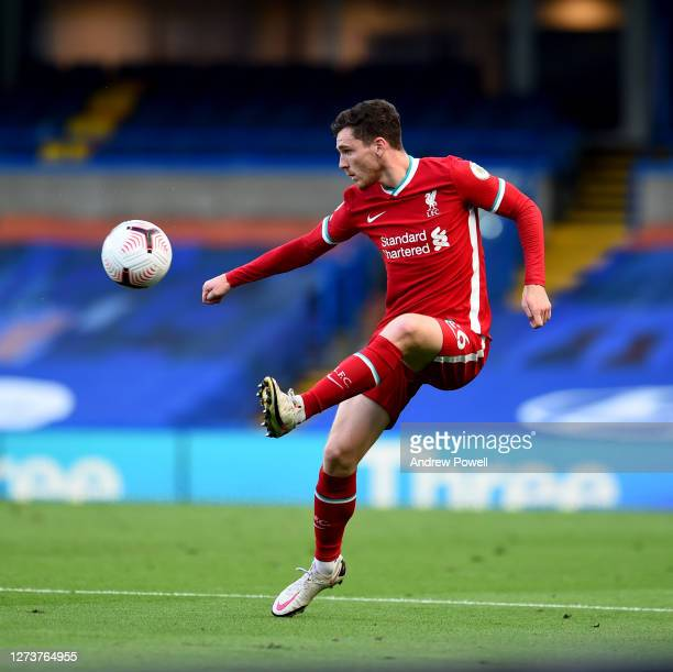 Andy Robertson of Liverpool during the Premier League match between Chelsea and Liverpool at Stamford Bridge on September 20 2020 in London England