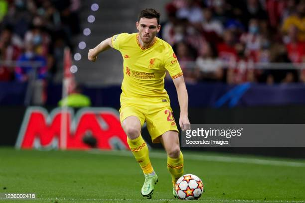 Andy Robertson of Liverpool FC during the UEFA Champions League match between Atletico Madrid v Liverpool at the Estadio Wanda Metropolitano on...