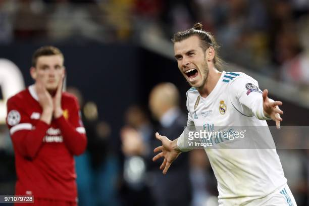 Andy Robertson of Liverpool FC Gareth Bale of Real Madrid during the UEFA Champions League final between Real Madrid and Liverpool on May 26 2018 at...