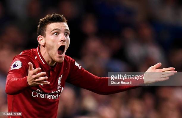 Andy Robertson of Liverpool gestures during the Premier League match between Chelsea FC and Liverpool FC at Stamford Bridge on September 29 2018 in...