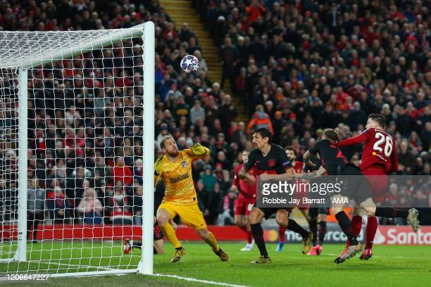 Andy Robertson of Liverpool hits the bar with a header during the UEFA Champions League round of 16 second leg match between Liverpool FC and...