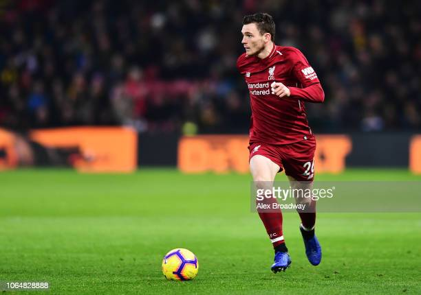 Andy Robertson of Liverpool in action during the Premier League match between Watford FC and Liverpool FC at Vicarage Road on November 24 2018 in...