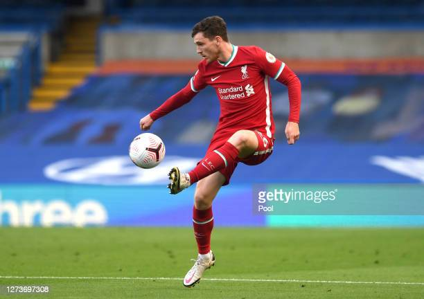 Andy Robertson of Liverpool in action during the Premier League match between Chelsea and Liverpool at Stamford Bridge on September 20 2020 in London...