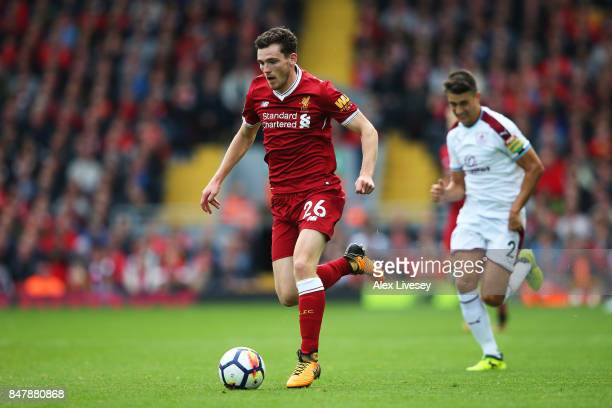 Andy Robertson of Liverpool in action during the Premier League match between Liverpool and Burnley at Anfield on September 16 2017 in Liverpool...