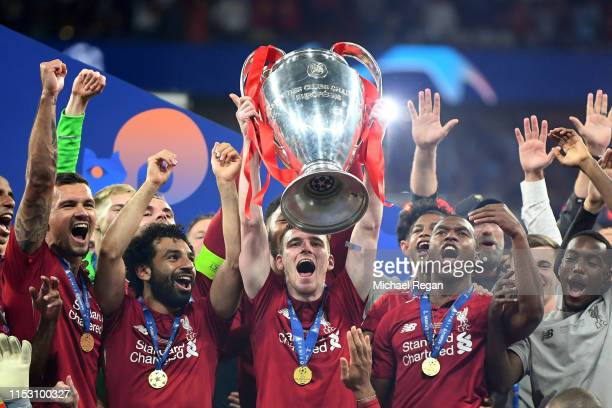 Andy Robertson of Liverpool lifts the Champions League Trophy after winning the UEFA Champions League Final between Tottenham Hotspur and Liverpool...