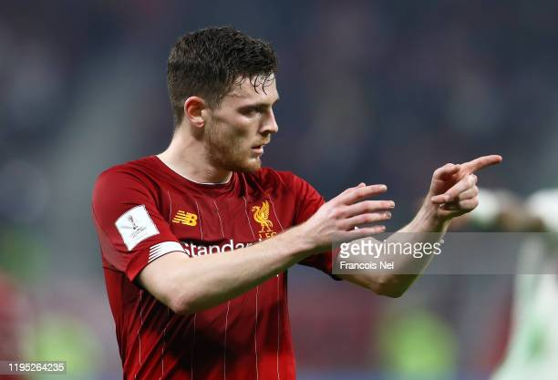 Andy Robertson of Liverpool looks on during the FIFA Club World Cup Qatar 2019 Final between Liverpool FC and CR Flamengo at Education City Stadium...