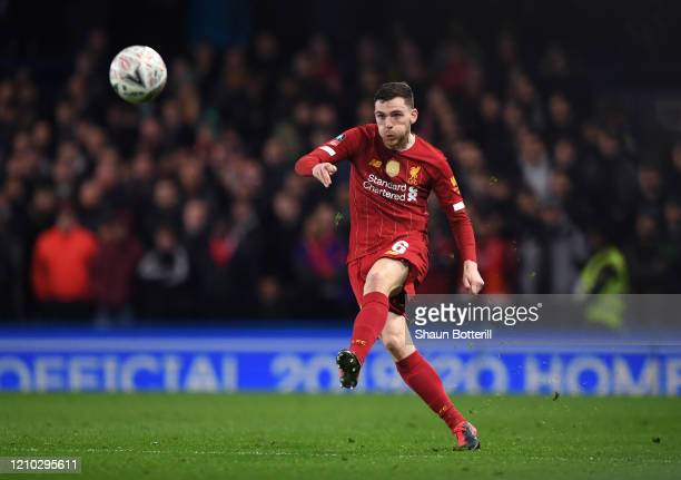 Andy Robertson of Liverpool passes the ball during the FA Cup Fifth Round match between Chelsea FC and Liverpool FC at Stamford Bridge on March 03,...