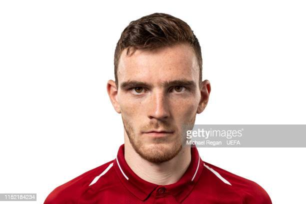 Andy Robertson of Liverpool poses for a photo during the Liverpool FC UEFA Champions League Final Preview Portrait Shoot at Melwood Training Ground...