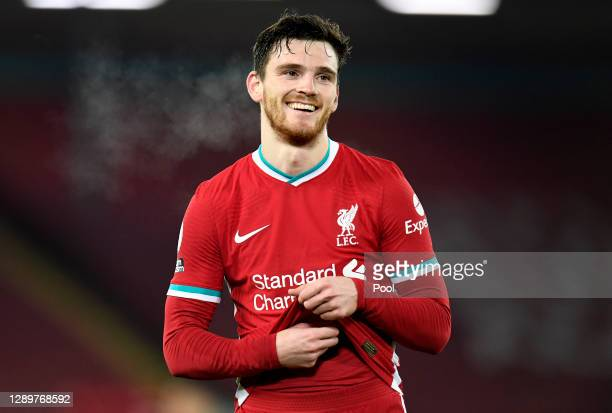 Andy Robertson of Liverpool reacts during the Premier League match between Liverpool and Wolverhampton Wanderers at Anfield on December 06, 2020 in...