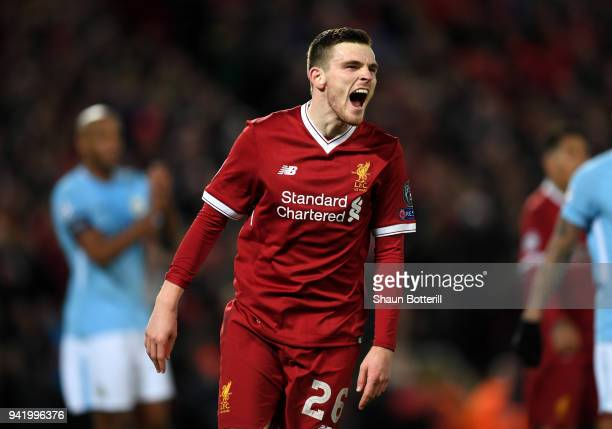 Andy Robertson of Liverpool reacts during the UEFA Champions League Quarter Final Leg One match between Liverpool and Manchester City at Anfield on...