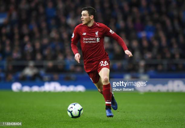 Andy Robertson of Liverpool runs with the ball during the Premier League match between Everton FC and Liverpool FC at Goodison Park on March 03 2019...