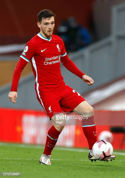 Andy Robertson of Liverpool runs with the ball during the Premier League match between Liverpool and Leeds United at Anfield on September 12 2020 in...
