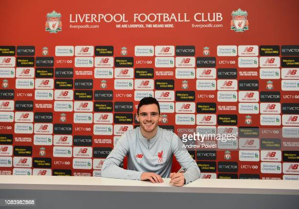 Andy Robertson of Liverpool signing a long term extension on his contract at Melwood Training Ground on January 17 2019 in Liverpool England
