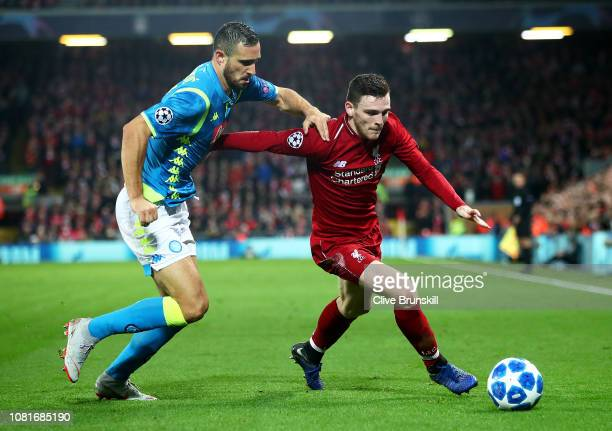 Andy Robertson of Liverpool tangles with Nikola Maksimovic of Napoli during the UEFA Champions League Group C match between Liverpool and SSC Napoli...