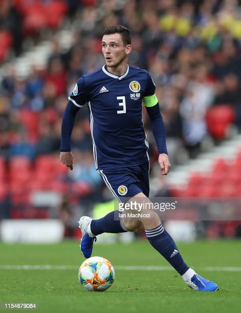 Andy Robertson of Scotland controls the ball during the European Qualifier for UEFA Euro 2020 at Hampden Park on June 08 2019 in Glasgow Scotland