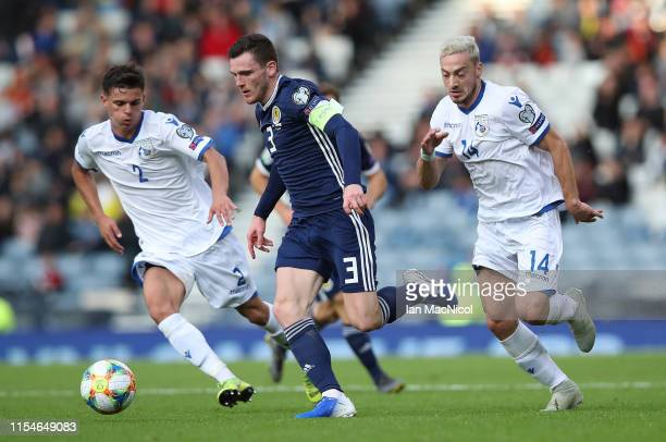 Andy Robertson of Scotland drives forward with the ball during the European Qualifier for UEFA Euro 2020 at Hampden Park on June 08, 2019 in Glasgow,...