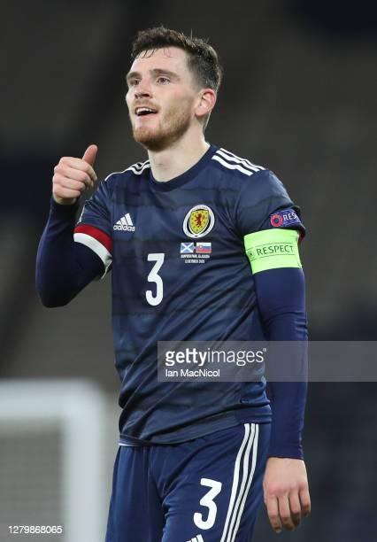 Andy Robertson of Scotland is seen during the UEFA Nations League group stage match between Scotland and Slovakia at Hampden Park National Stadium on...