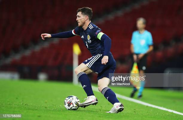 Andy Robertson of Scotland is seen in action during the UEFA Nations League group stage match between Scotland and Israel at Hampden Park National...