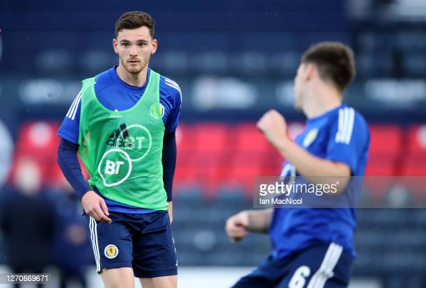 Andy Robertson of Scotland warming up before the UEFA Nations League group stage match between Scotland and Israel at Hampden Park National Stadium...
