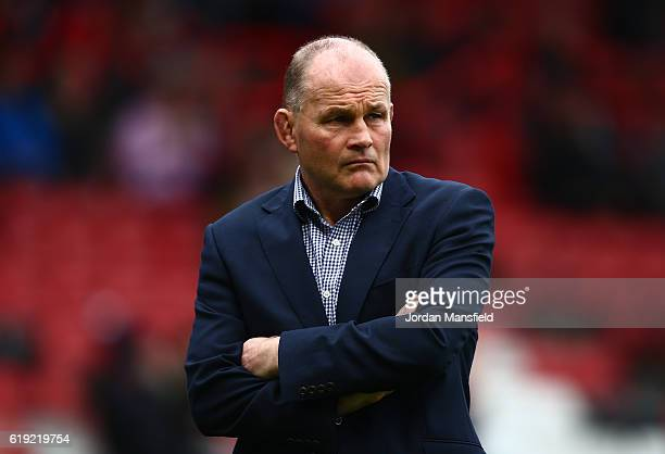 Andy Robinson head coach of Bristol Rugby looks on during the Aviva Premiership match between Bristol Rugby and Sale Sharks at Ashton Gate on October...