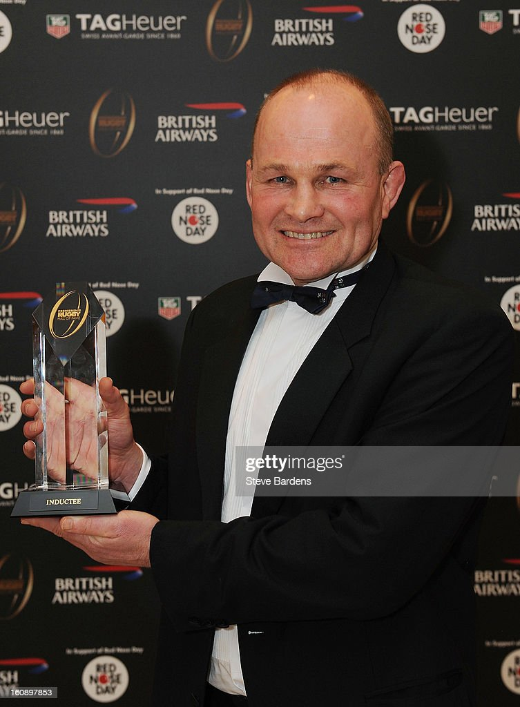 Andy Robinson inducted into the Hall of Fame during the inaugural Premiership Rugby Hall of Fame Ball at the Hurlingham Club on February 7, 2013 in London, England.