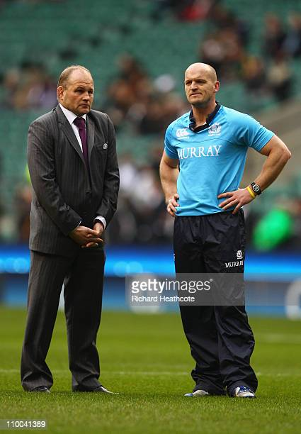Andy Robinson manager of Scotland and coach Gregor Townsend look on prior to the RBS 6 Nations Championship match between England and Scotland at...