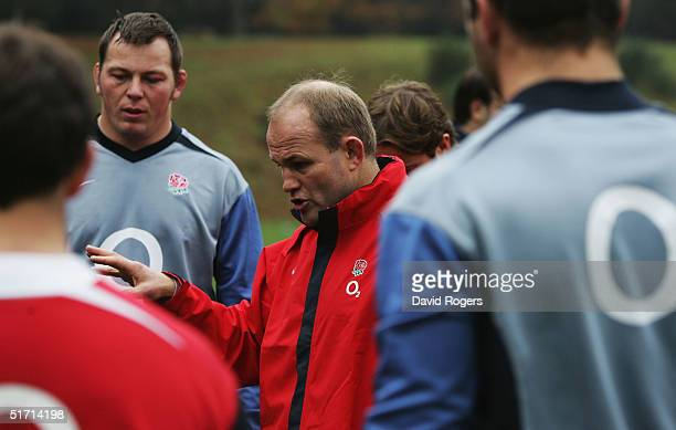 Andy Robinson the England head coach issues instructions to his team during the England rugby union training held at Pennyhill Park Hotel on November...