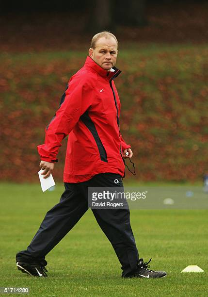 Andy Robinson the England head coach watches his team during the England rugby union training held at Pennyhill Park Hotel on November 9 2004 in...