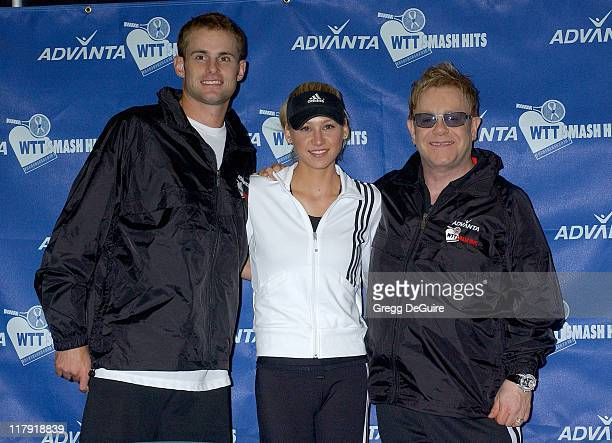 Andy Roddick Anna Kournikova and Elton John during Advanta WTT Smash Hits Charity Tennis Game September 14 2006 at Bren Center/UC Irvine in Irvine...