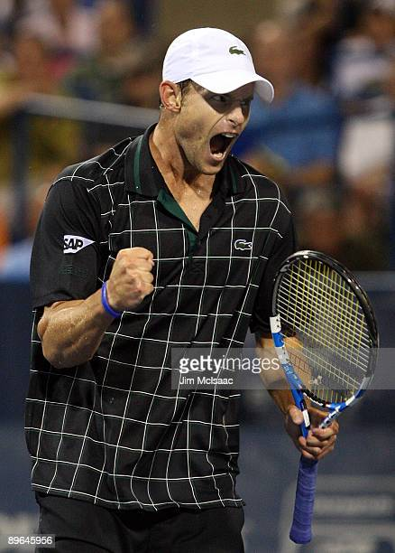 Andy Roddick celebrates a point in the final game against Sam Querrey during Day 4 of the Legg Mason Tennis Classic at the William H.G. FitzGerald...