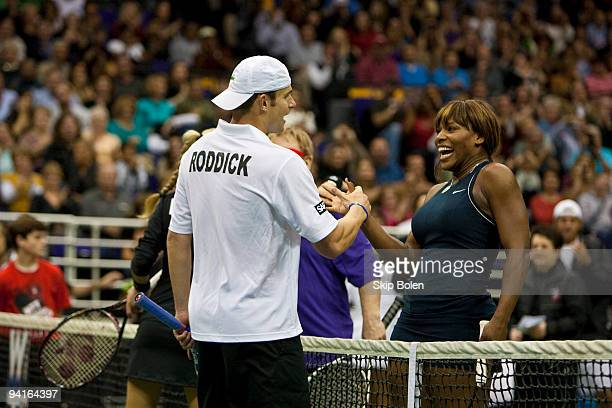 Andy Roddick congratulates Serena Williams in a pro-celebrity mixed doubles match at the 17th Annual World Team Tennis Smash Hits benefiting the...