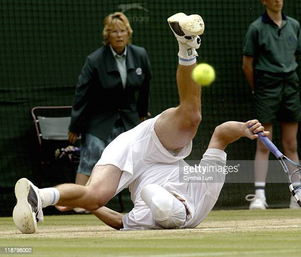 Andy Roddick defeated Thomas Johannson 67 62 76 76 in the Gentlemen's Singles Semifinals at the 2005 Wimbledon Championships at the AllEngland Lawn...