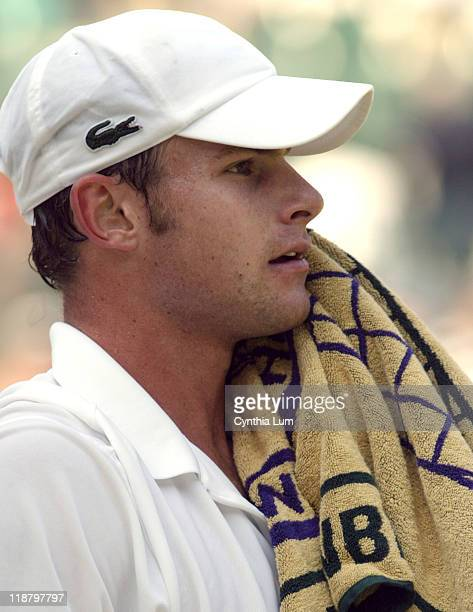 Andy Roddick defeats Guillermo Coria 6-3, 7-6 6-4 in the 4th round of the All England Lawn & Tennis Club Wimbledon, England. June 27, 2005.