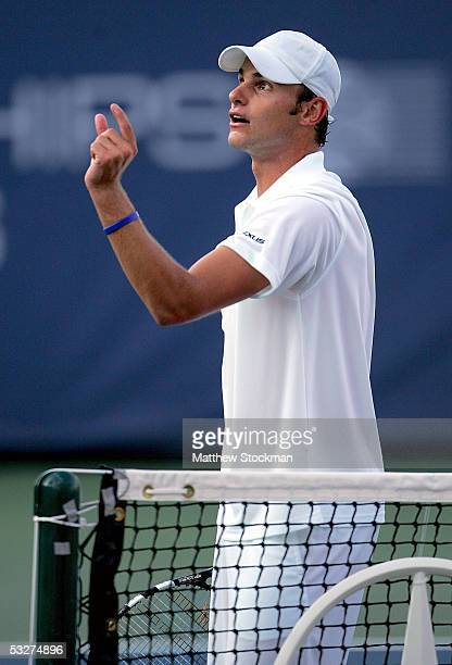 Andy Roddick disputes a call in the match against Robby Ginepri during the RCA Championships July 22 2005 at Indianapolis Tennis Center in...