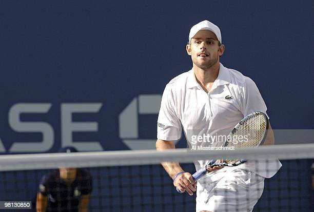 Andy Roddick during his fourth round match against Benjamin Becker at the 2006 US Open at the USTA Billie Jean King National Tennis Center in...