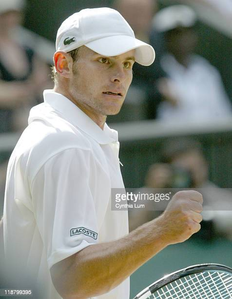 Andy Roddick during his quarterfinal match against Sebastian Grosjean at the 2005 Wimbledon Championships on June 29 2005 Roddick won 36 62 61 36 63