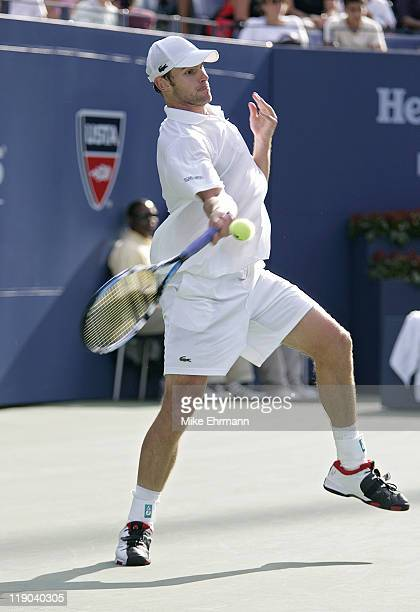 Andy Roddick during his third round match against Fernando Verdasco at the 2006 US Open at the USTA Billie Jean King National Tennis Center in...