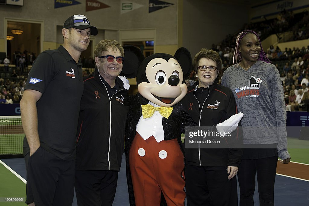 Andy Roddick, Elton John, Mickey Mouse, Billie Jean King and Venus Williams pose for a photo during the 2013 Mylan WTT Smash Hits on November 17, 2013 at the ESPN Wide World of Sports Complex in Lake Buena Vista, Florida.