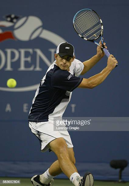 Andy Roddick gets ready to hit a backhand against Xavier Malisse during Day 10 of the US Open Tennis Tournament. Roddick defeated Malisse 6-3, 6-4,...