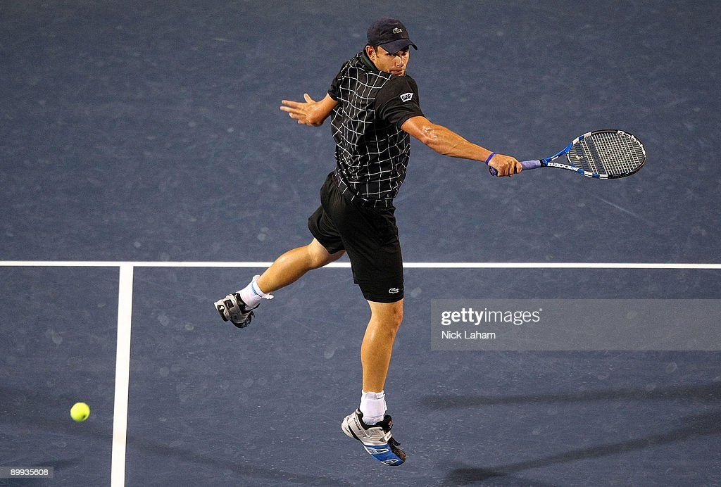 Andy Roddick hits a backhand volley against Sam Querrey during day three of the Western & Southern Financial Group Masters on August 19, 2009 at the Lindner Family Tennis Center in Cincinnati, Ohio.